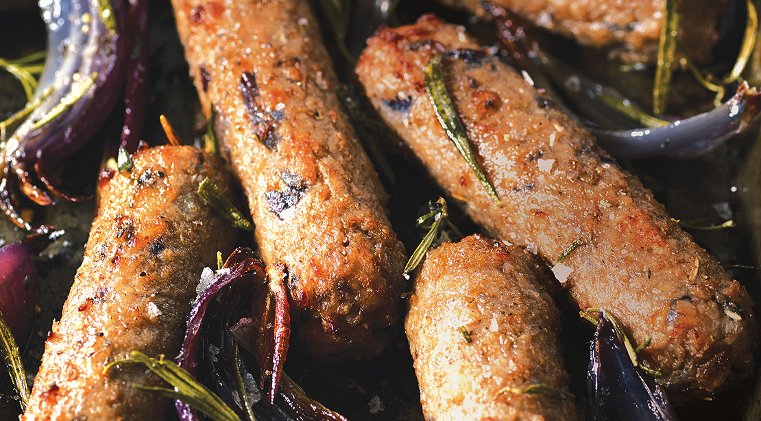 Vegetarian Red Onion & Rosemary Sausages